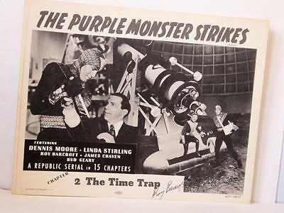 Set of 4 1957rr THE PURPLE MONSTER STRIKES Ch 2 Lobby Cards TC Sign ROY BARCROFT