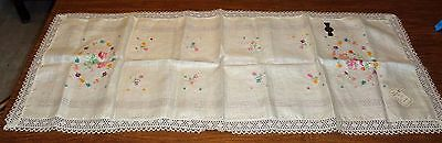 Gorgeous Hand Embroidered Pure Linen Table Runner Mint w/Belgium Labels 15x43