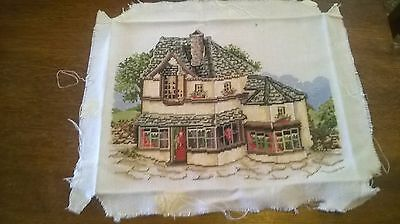 Completed Cross Stitch Of A House And Garden