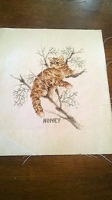 Completed Cross Stitch Of A Wild Cat In A Tree Called Honey
