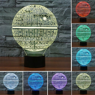 7 Color Change Death Star 3D LED Night Touch Switch Table Desk Lamp Light Decro