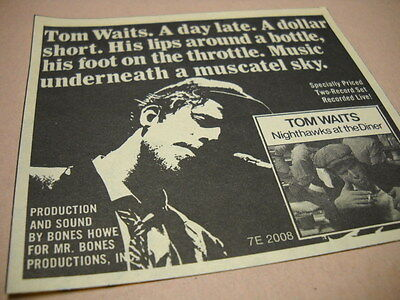 TOM WAITS music under a muscatel sky Original 1975 music biz promo trade advert