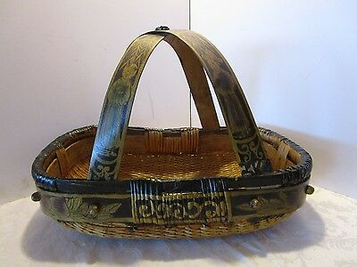 "Antique CHINESE ASIAN WOVEN RATTAN BASKET BENT WOOD HANDLE HAND PAINTED 19½"" W"