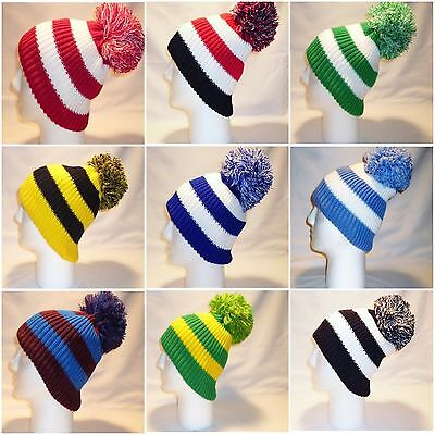 Luxury Fleece Lined Bobble Hat Beanie Mens Women Retro Football Winter Pom Snow