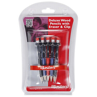 Masters Deluxe Wood Pencils With Rubber Eraser + Clip - New Golf