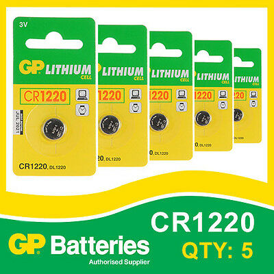 GP Lithium Button Battery CR1220 (DL1220) card of 5 [WATCH & CALCULATOR + OTHER]