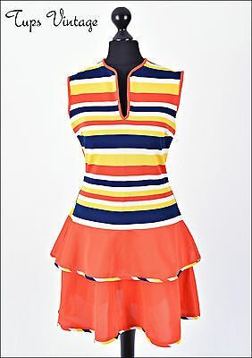 VINTAGE 60s RETRO STRIPE MINI MOD SHIFT DRESS SCOOTER TWIGGY 8