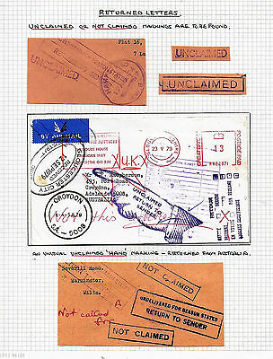 GB  c1960 RETURNED LETTER  GB   AUSTRALIA Cover + 4 Cut outs  UNCLAIMED