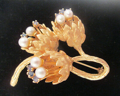 Stunning 14k Yellow Gold Large Triple Flower Pearl Broach Pin Estate Jewelry