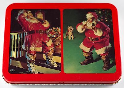 Coca-Cola 2 Decks of Santa Nostalgia Playing Cards In Collectible Tin New