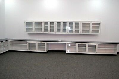 36' Fisher Lab  Glass Cabinets & Casework W/ Glass Door Upper / Wall Cabinets