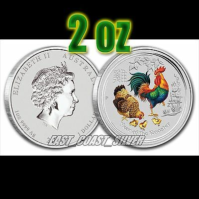 2017 Year of the Rooster colorized Perth Mint's Lunar Series II 2 oz silver coin