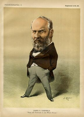 President James A. Garfield 1881 Caricature Tow-Path To White House By Keppler