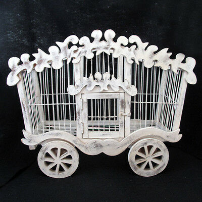 Bird Cage Circus Wagon Shaped Wood and Wire Decorative Piece White