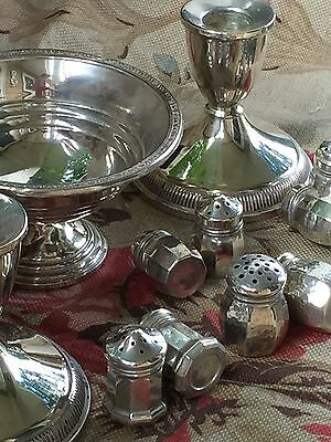 Lot Sterling Silver Candlesticks, Weighted Bowl Four Sets Salt & Pepper Shakers
