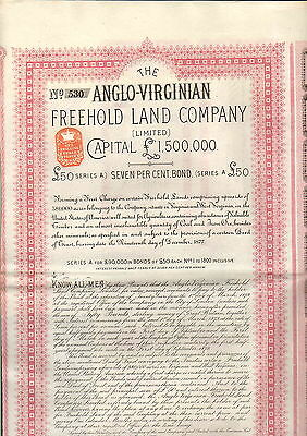 ANGLO - VIRGINIAN Freehold Land Company - 50 pounds - 1879