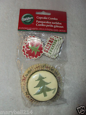 Wilton Holiday Christmas Combo Cupcakes Liners Baking Cups & Toppers New