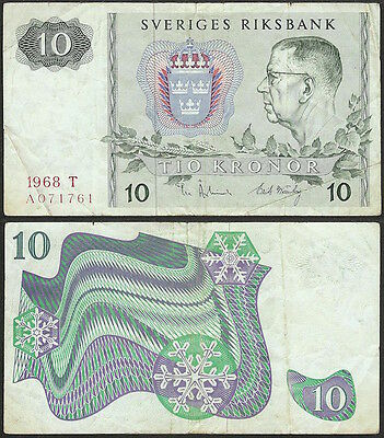 SWEDEN - 10 kronor 1968 P# 52b Europe banknote - Edelweiss Coins