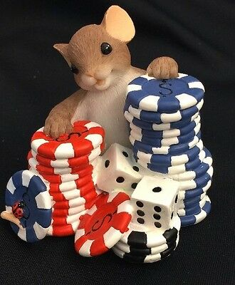 Charming Tails ENESCO I'M BETTING On You mouse Dice Craps Poker CASINO Chips
