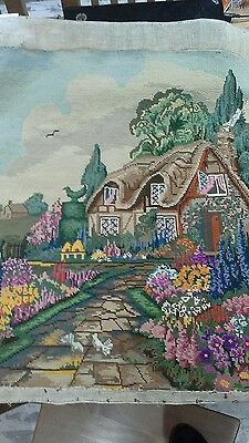 vintage wool tapestry english cottage and garden (complete and unframed)