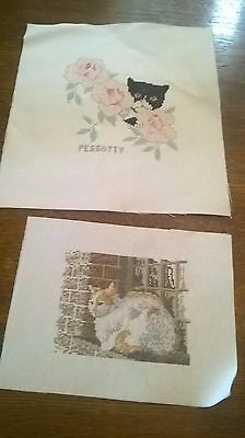 2 X Completed Cross Stitch Of Cats