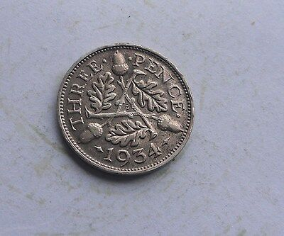 George V. silver Threepence 1934 in Good Condition.