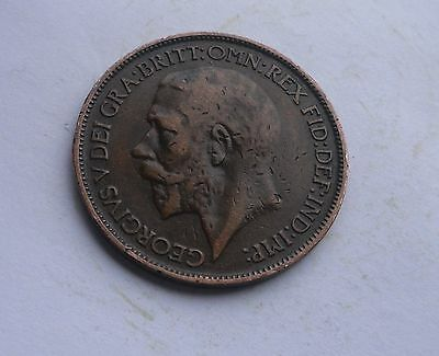 Halfpenny, George V. 1925  in Good Condition.