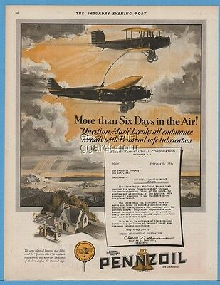 1929 Question Mark Air Refueling Fokker C-2 Wright Aeronautical Pennzoil Ad