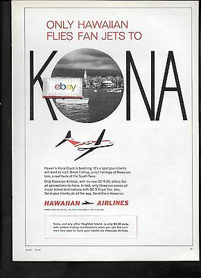 Hawaiian Airlines 1968 Kona,hawaii Flies Dc-9 Royal Fan/jets Ad