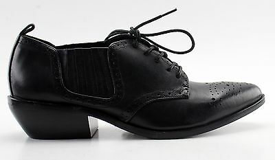 New With Box Women's DOLCE VITA Black Leather Lace-Up Oxfords Size 8