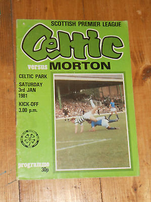 Celtic v Morton football programme January 1981