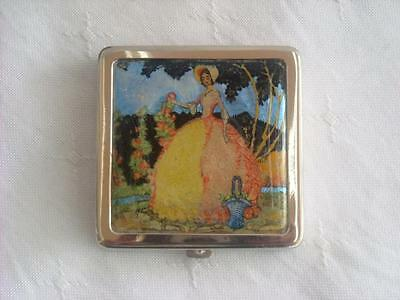 Art Deco Foil Backed Crinoline Lady Picture Powder Compact 1932