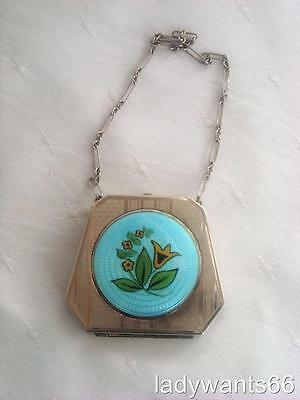 Art Deco Flapper Vanity Purse Guilloche Enamel Powder Compact With Wrist Chain