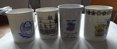 Uk Girl Guides: 4 Unused China Mugs - Pax Lodge, Broneirion, 75Th Anniv, Ne Eng