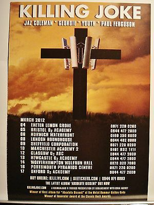 Killing Joke - Large Card Flyer  - March  2012 Tour - Authentic Issued Flyer