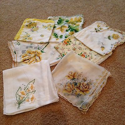 Vintage Lot Of 7 Yellow Embroidered Crochet Handkerchief Hankie
