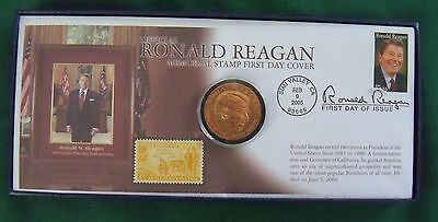 OFFICIAL RONALD REAGAN .. MEMORIAL STAMP & FIRST DAY COVER with COA in BOX!