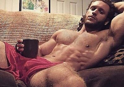 Shirtless Male Athletic Muscular Hunk Hairy Chest Legs Beard Guy PHOTO 4X6 C1067