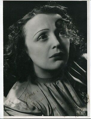 Autographe Dédicace ORIGINAL de EDITH PIAF sur photo Portrait d'époque 18x24