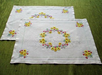 Pr. Vintage Tray Cloths - Hand Embroidered - Linen