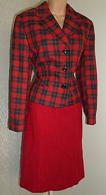 Hobbs M&s Pretty Ladies Red Mix Jacket And Skirt Set Size 12/14