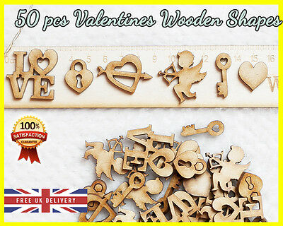 50 Wooden Valentines Day Cupid Craft Heart Shapes Scrapbooking Embellishment