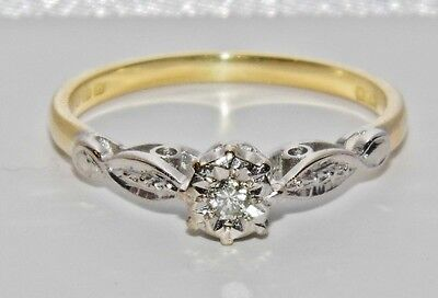 Antique 18ct Yellow Gold & Platinum Diamond Solitaire Engagement Ring size O