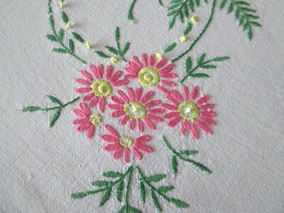 "VINTAGE TABLECLOTH - HAND EMBROIDERED PINK FLOWERS-LINEN-50""sq."