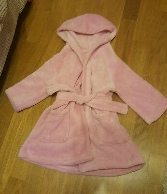 baby girl dressing gown pink aged 12-18 months