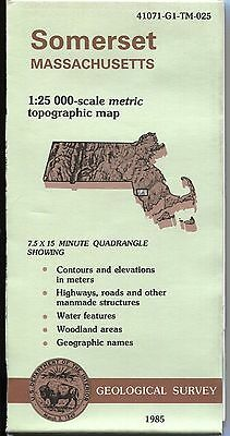 US Geological Survey topographic map metric Massachusetts SOMERSET 1985
