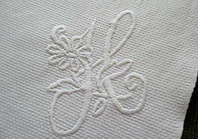 Antique Huckaback Towel-Hand Embroidered-Initial H