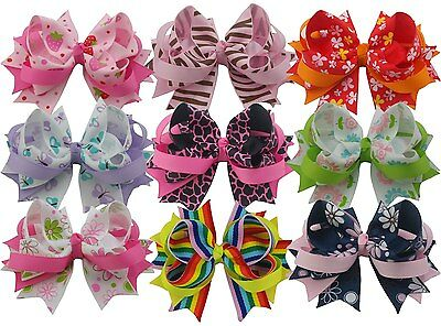 """Wholesale 9pcs 4"""" Girls boutique bows Clips Hair Accessories hairclips mix style"""