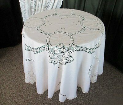 "PRETTY ROUND TABLECLOTH-HAND EMBROIDERY & HAND CROCHET-64"" dia"