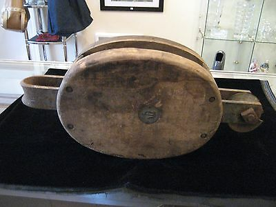 Vintage Wooden Pulley, Block & Tackle - Maritime
